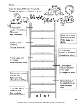Weighty Matters Word Ladder (Grades 2-3) - Printable Worksheet