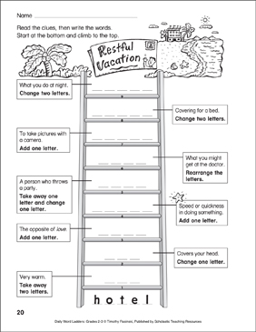 Restful Vacation Word Ladder (Grades 2-3) - Printable Worksheet