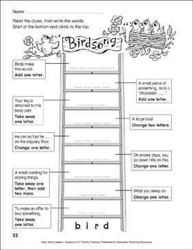 Birdsong Word Ladder (Grades 2-3) - Printable Worksheet