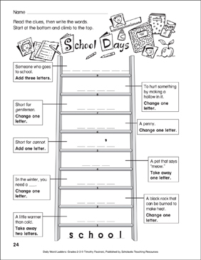 School Days Word Ladder (Grades 2-3) - Printable Worksheet