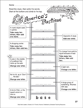 America's Pastime Word Ladder (Grades 2-3) - Printable Worksheet