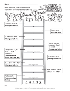 Sweet Treats Word Ladder (Grades 2-3) - Printable Worksheet
