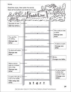Finish Line Word Ladder (Grades 2-3) - Printable Worksheet