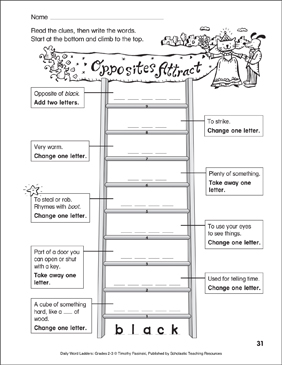 Opposites Attract Word Ladder (Grades 2-3) - Printable Worksheet