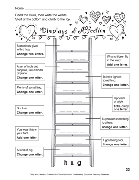 Displays of Affection Word Ladder (Grades 2-3) - Printable Worksheet