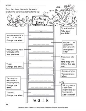Getting There Word Ladder (Grades 2-3) - Printable Worksheet