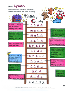 Holiday Candy Word Ladder - Printable Worksheet