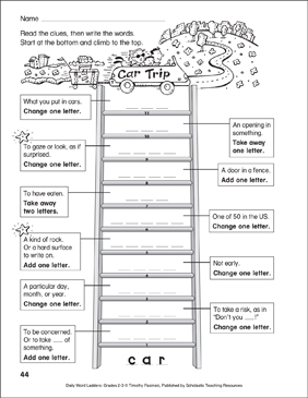 Car Trip Word Ladder (Grades 2-3) - Printable Worksheet
