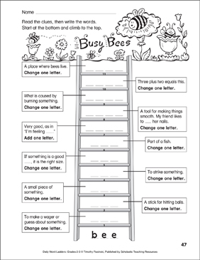 Busy Bees Word Ladder - Printable Worksheet