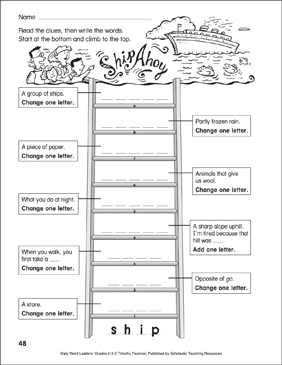 Ship Ahoy Word Ladder (Grades 2-3) - Printable Worksheet