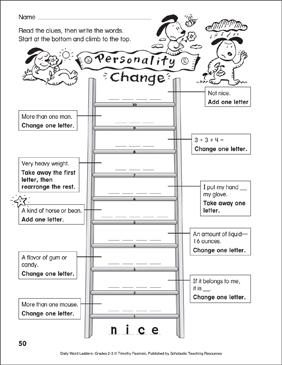 Personality Change Word Ladder (Grades 2-3) - Printable Worksheet