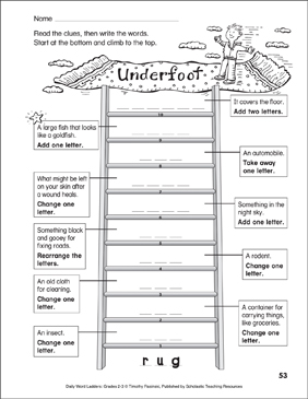 Underfoot Word Ladder (Grades 2-3) - Printable Worksheet