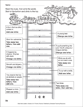 Deep Freeze Word Ladder (Grades 2-3) - Printable Worksheet