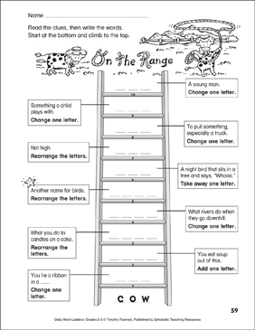 On the Range Word Ladder (Grades 2-3) - Printable Worksheet
