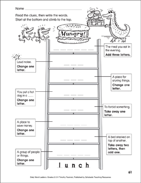 Hungry! Word Ladder (Grades 2-3) - Printable Worksheet