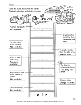 Air Travel Word Ladder (Grades 2-3) - Printable Worksheet