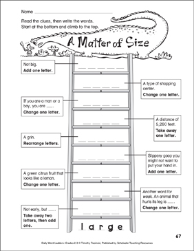 A Matter of Size Word Ladder (Grades 2-3) - Printable Worksheet