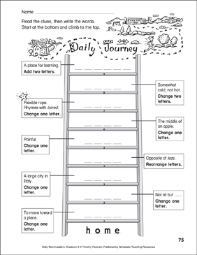 Daily Journey Word Ladder (Grades 2-3) - Printable Worksheet