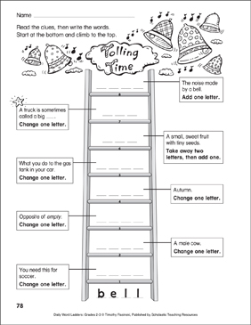Tolling Time Word Ladder (Grades 2-3) - Printable Worksheet