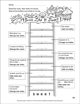Some Like It Sweet Word Ladder (Grades 2-3) - Printable Worksheet
