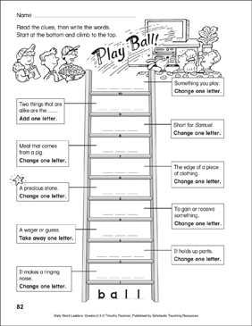 Play Ball! Word Ladder (Grades 2-3) - Printable Worksheet