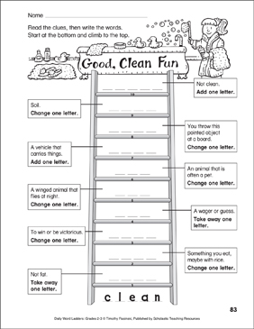 Good, Clean Fun Word Ladder (Grades 2-3) - Printable Worksheet