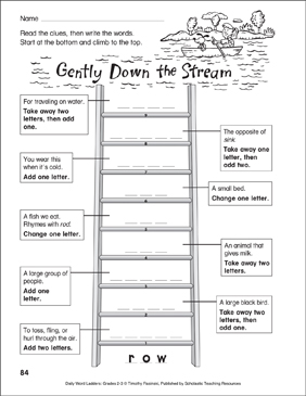 Gently Down the Stream Word Ladder (Grades 2-3) - Printable Worksheet