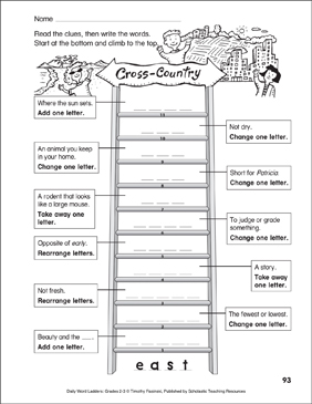 Cross-Country Word Ladder (Grades 2-3) - Printable Worksheet