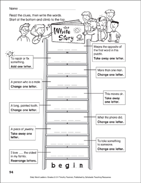 The Whole Story Word Ladder (Grades 2-3) - Printable Worksheet