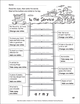 In the Service Word Ladder (Grades 2-3) - Printable Worksheet