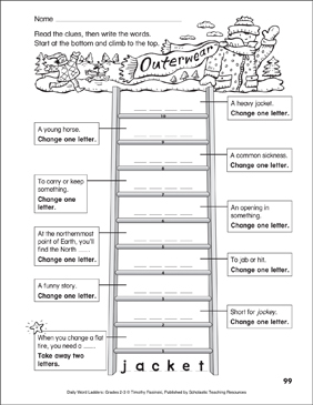 Outerwear Word Ladder - Printable Worksheet