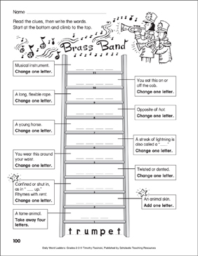 Brass Band Word Ladder (Grades 2-3) - Printable Worksheet