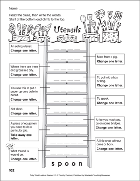 Utensils Word Ladder (Grades 2-3) - Printable Worksheet