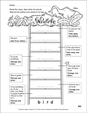 Wildlife Word Ladder (Grades 2-3) - Printable Worksheet