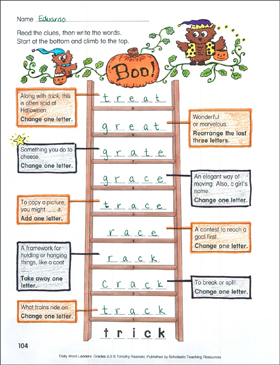 Boo! Word Ladder (Grades 2-3) - Printable Worksheet