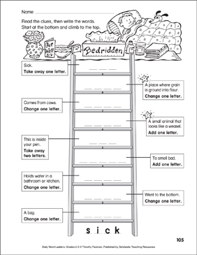 Bedridden Word Ladder (Grades 2-3) - Printable Worksheet