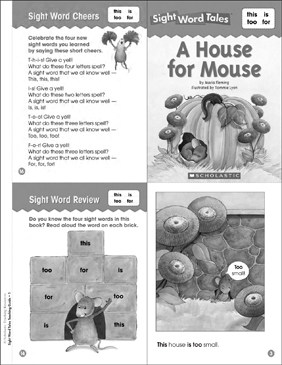 A House for Mouse (this, is, too, for): Sight Word Tales Mini-Book & More - Printable Worksheet