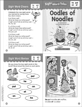 Oodles of Noodles (he, put, on, of): Sight Word Tales Mini-Book & More - Printable Worksheet