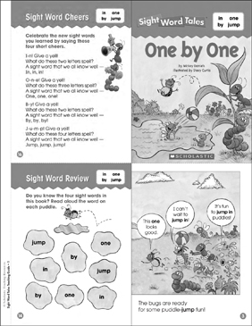 One by One (in, one, by, jump): Sight Word Tales Mini-Book & More - Printable Worksheet