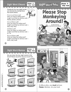 Please Stop Monkeying Around!: Sight Word Tale - Printable Worksheet