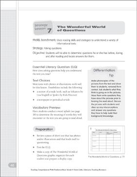 The Wonderful World of Questions: Questioning in Nonfiction Text - Printable Worksheet