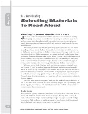 Read-World Reading - Selecting Materials to Read Aloud: Nonfiction Read-Alouds - Printable Worksheet