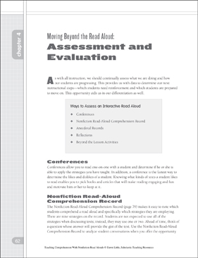 Moving Beyond the Nonfiction Read Aloud: Assessment and Evaluation - Printable Worksheet