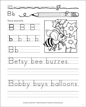 Betsy Bee (Letter Bb): Traditional Manuscript Practice - Printable Worksheet