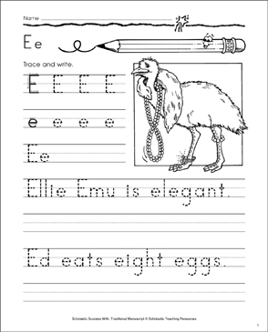 Ellie Emu (Letter Ee): Traditional Manuscript Practice - Printable Worksheet
