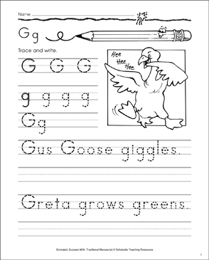 Gus Goose (Letter Gg): Traditional Manuscript Practice - Printable Worksheet