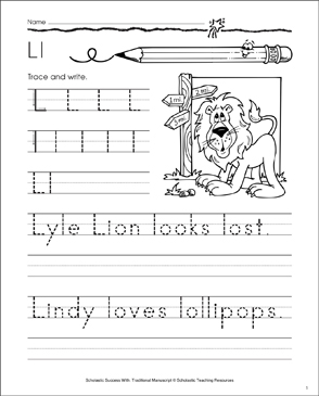 Lyle Lion (Letter Ll): Traditional Manuscript Practice - Printable Worksheet