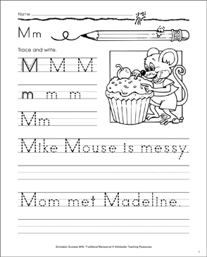 Mike Mouse (Letter Mm): Traditional Manuscript Practice - Printable Worksheet