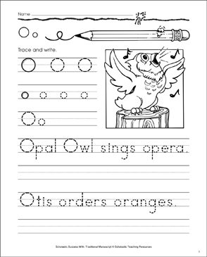 Opal Owl (Letter Oo): Traditional Manuscript Practice - Printable Worksheet