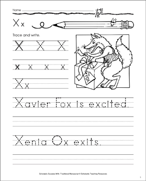 Xavier Fox (Letter Xx): Traditional Manuscript Practice - Printable Worksheet